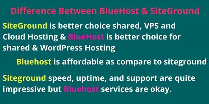 Difference BEtween Bluehost & Siteground