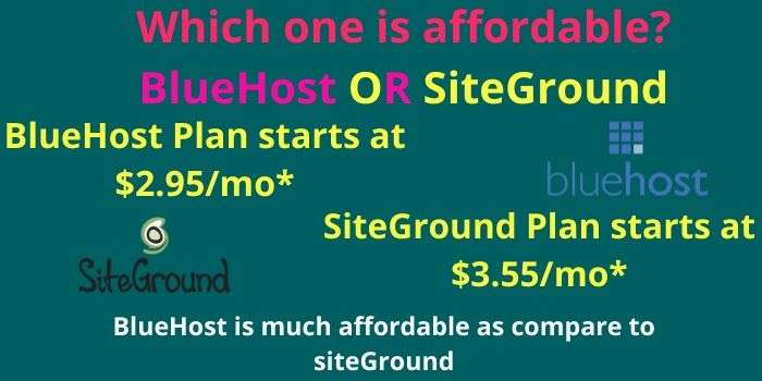 Price of BlueHost & Siteground