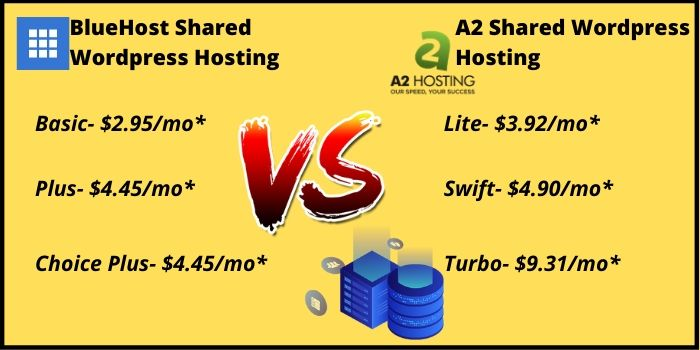 Bluehost VS A2Hosting Hosting Types
