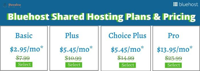 Bluehost Shared HostingPlans & Pricing